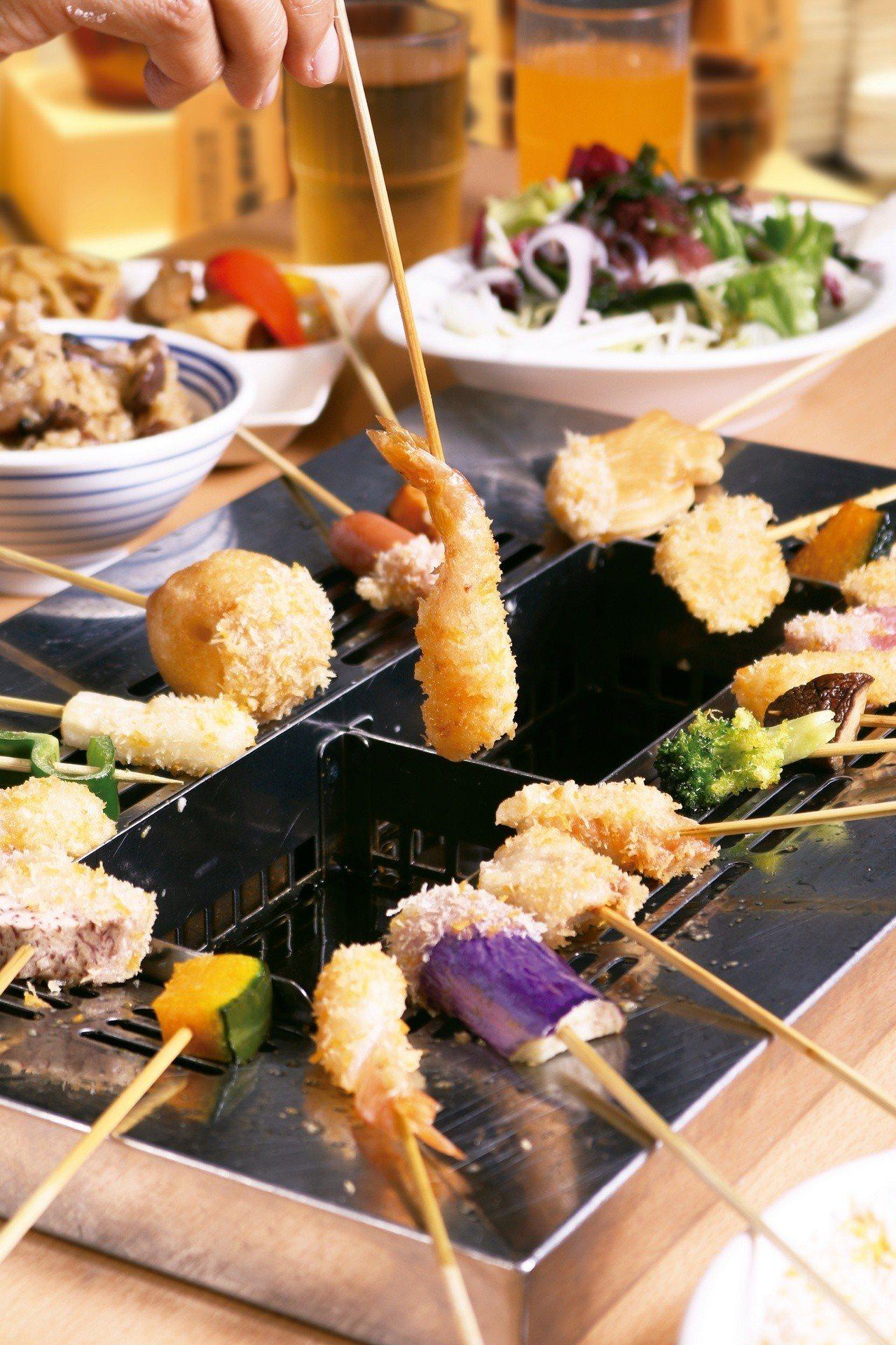 遠東百貨板橋中山店引進「串家物語」,是新北首家吃到飽串炸餐廳。圖/遠東百貨提供