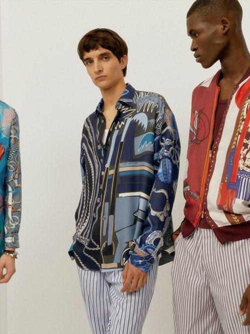 印花夾克、絲質襯衫讓2020春夏愛馬仕有著優雅的度假風。圖/愛馬仕提供