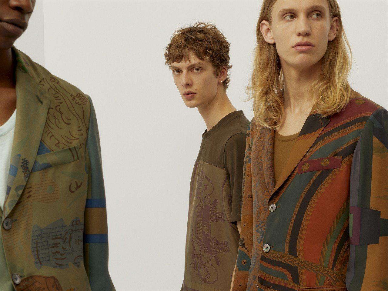 絲質三釦西裝外套展現了輕鬆寫意的夏日風情。圖/愛馬仕提供
