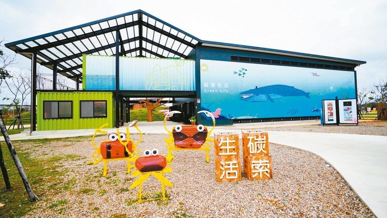 桃園農業博覽會園區內的「碳索生活館」以二手貨櫃為基本架構,館內展示品全來自環保回...