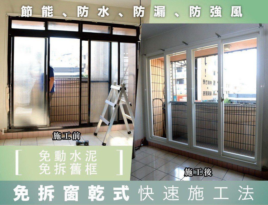 銨麗全面採用最新「免拆窗乾式快速施工法」,免動水泥、免拆舊框,施工快速,品質良好...