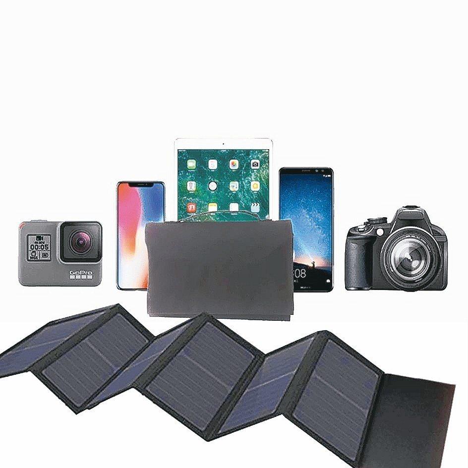 Suniwin戶外折疊便攜40W太陽能充電包,號稱露營旅行電源供應神器,手機、平...