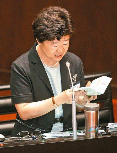 大法官被提名人楊惠欽出席立院人事案審查,特別翻閱「簡明小六法」來回答。 記者林伯東/攝影