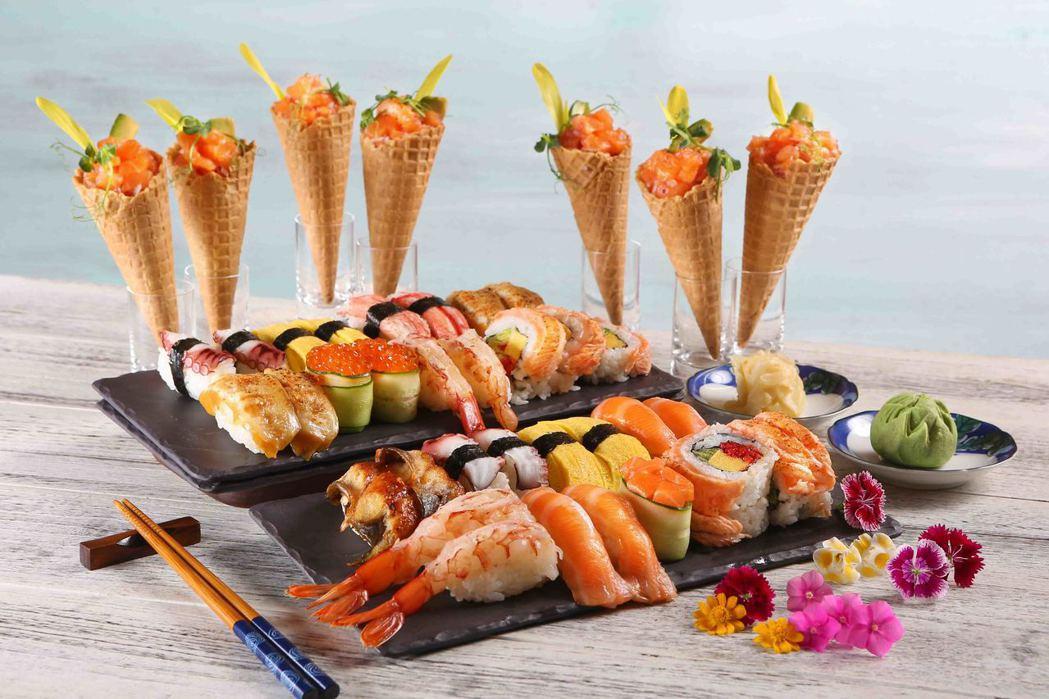 50樓Cafe-炙燒鮭魚果蔬甜筒&握壽司。