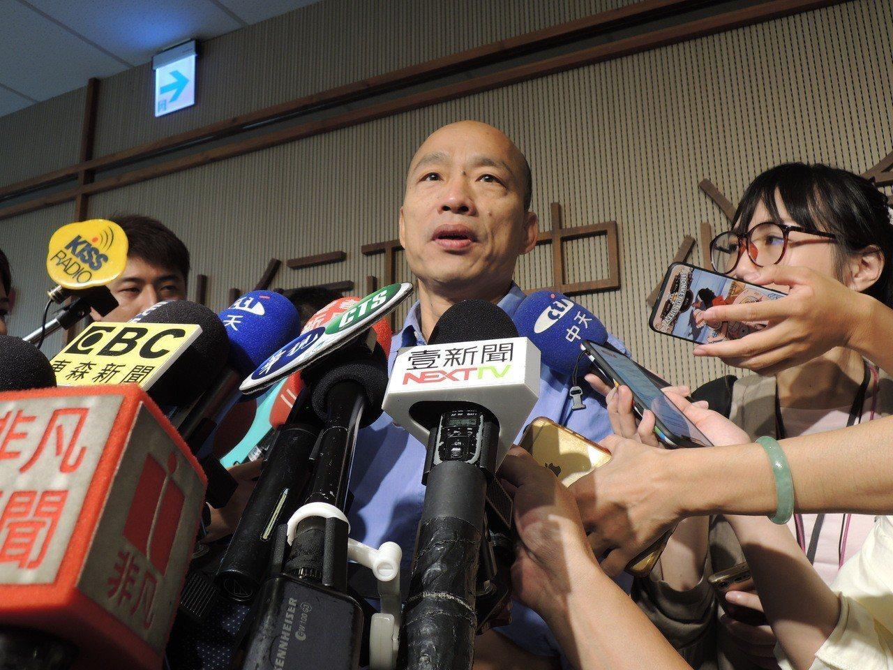 高市長韓國瑜上午受訪。記者蔡孟妤/攝影