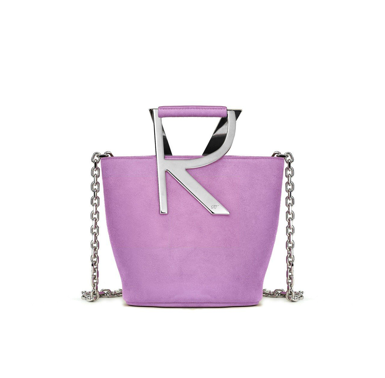 Roger Vivier Bucket 麂皮金屬鏈帶包,售價44,600元。圖/...