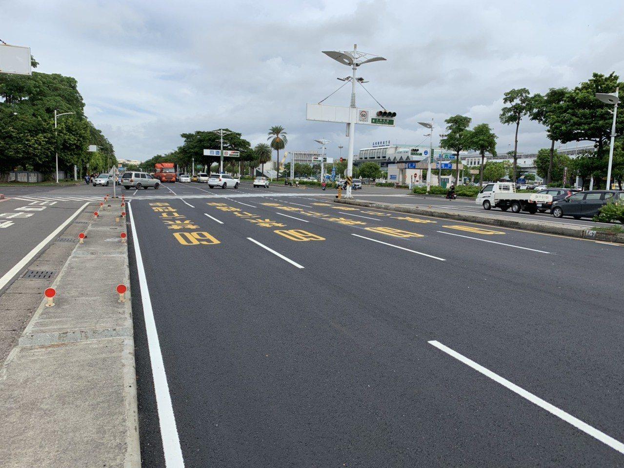 高雄市工務局最近已陸續完成中山四路鋪路工程。圖/高雄市工務局養工處提供