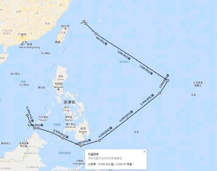 網路上出現的遼寧艦編隊航跡圖,到底是真是假,外界不得而知。 (取自網路)