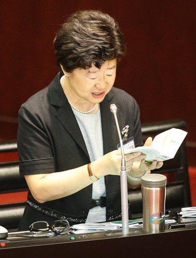 立法院臨時會昨天審查大法官提名,被提名人楊惠欽接受立委質詢,被問到法律條例時,翻...