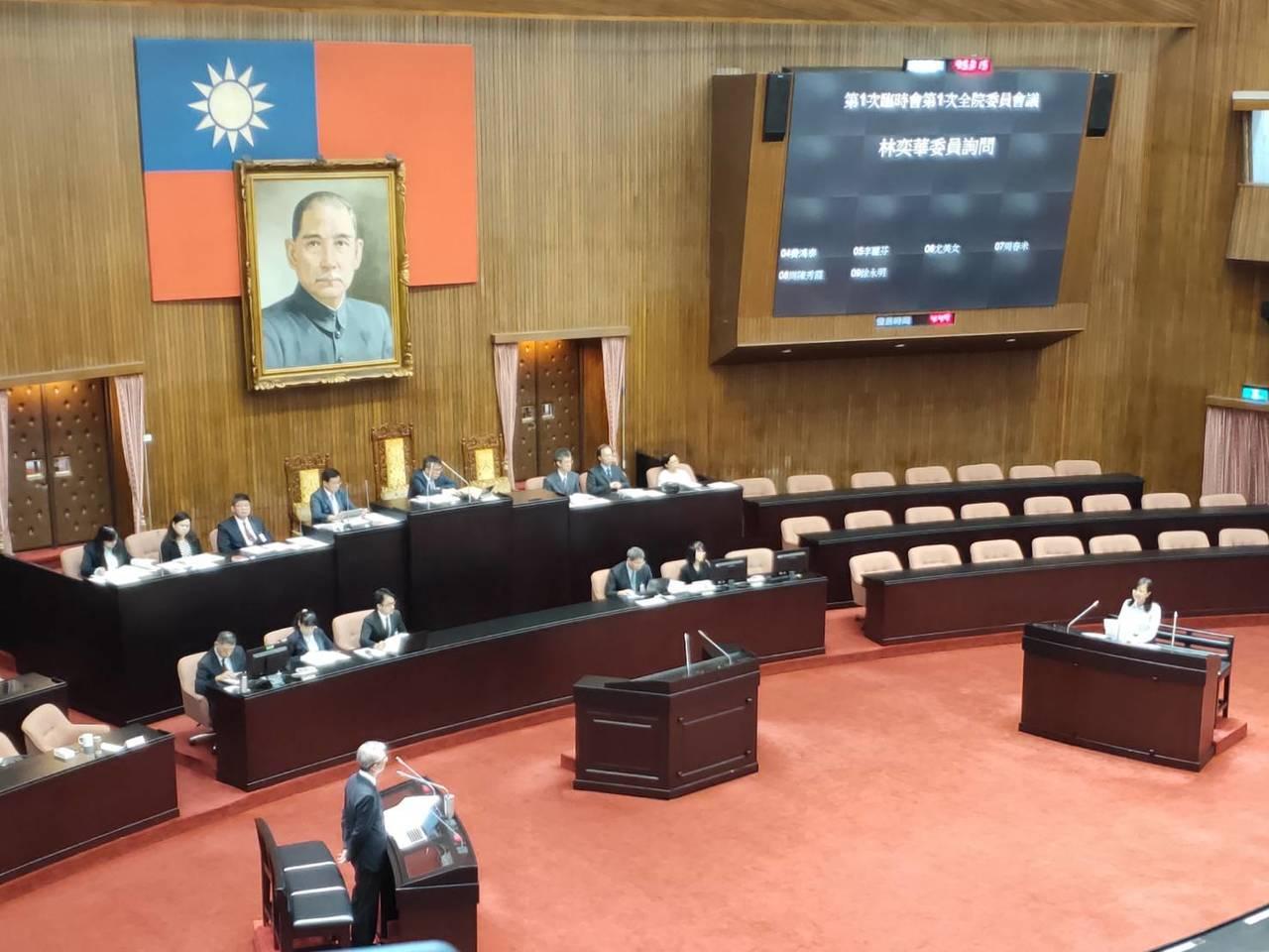 大法官被提名人謝銘洋接受國民黨立委林奕華質詢。 記者徐偉真/攝影