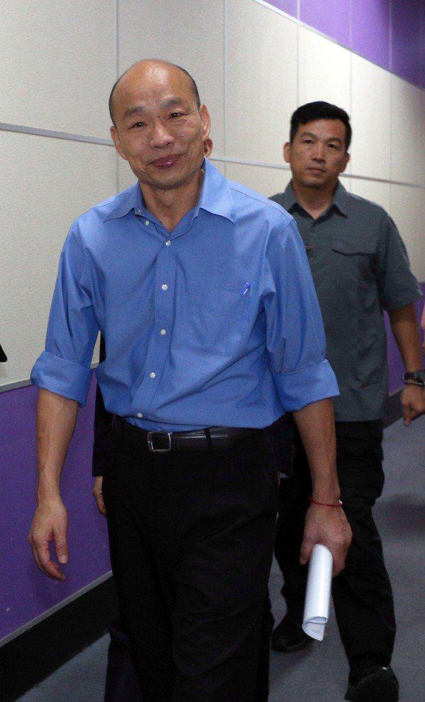 國政願景政見會後,高雄市長韓國瑜未受訪離去。 圖/聯合報系資料照片
