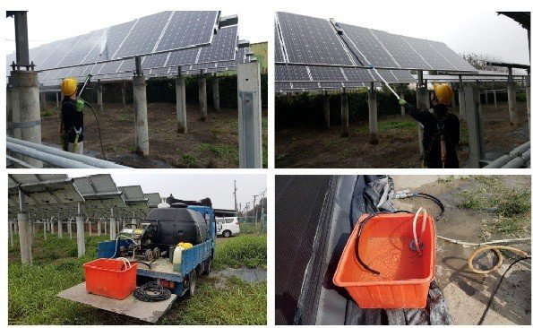 太陽光電的清洗實況。 公會/提供