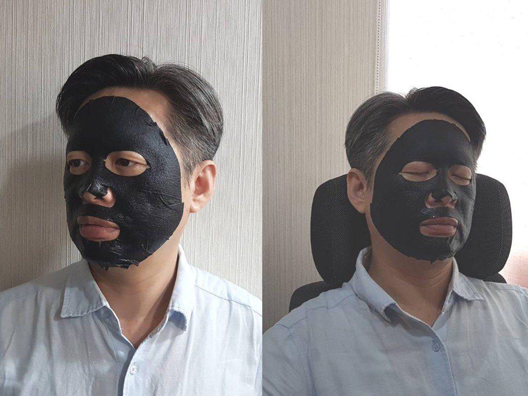 不少上班族男性選擇以使用方便、快速且容易完成的片狀面膜來保養。森田藥粧/提供