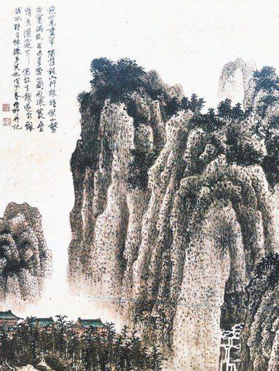 謝稚柳《仿范寬筆意山水》(局部),紙本,1948。(圖/取自2018 May香港...