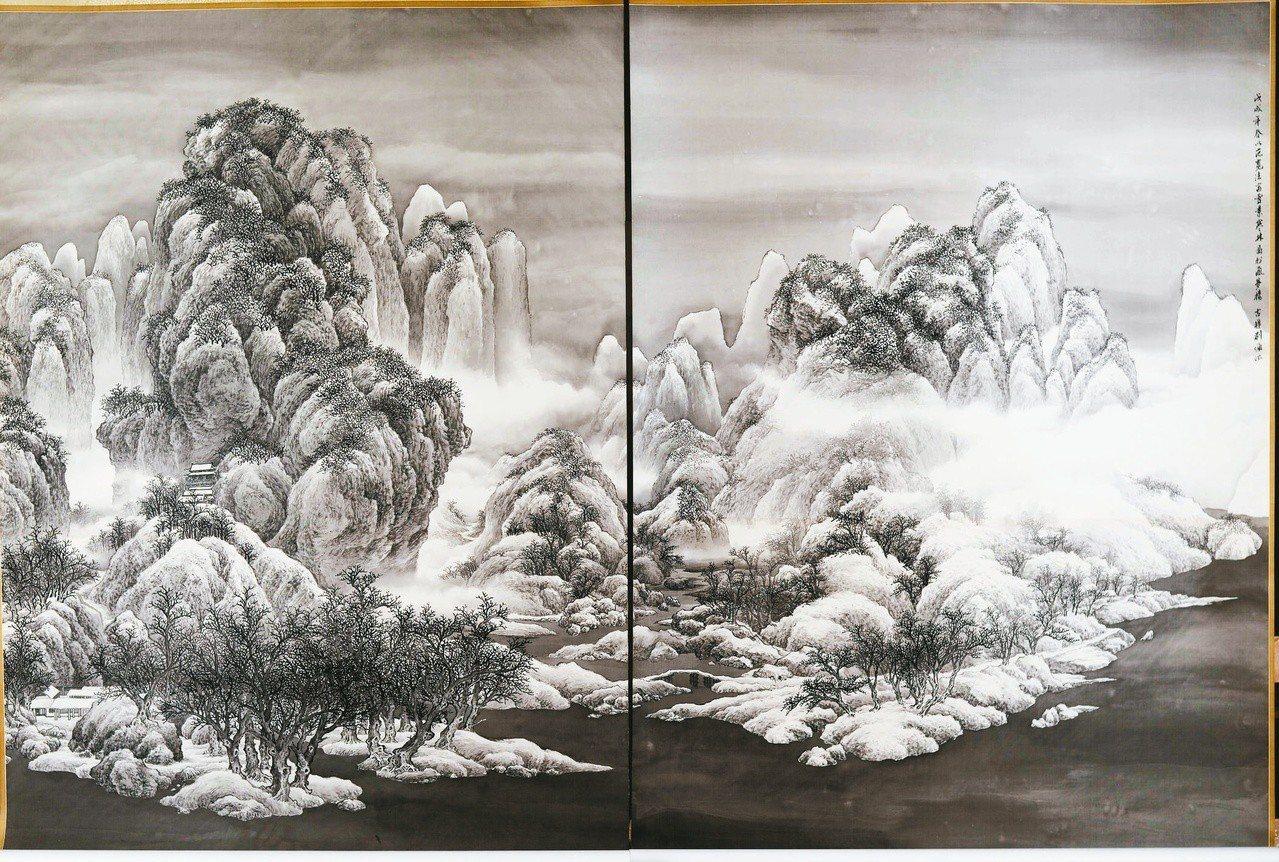 劉墉《仿北宋范寬雪景寒林圖》,絹本,2018。