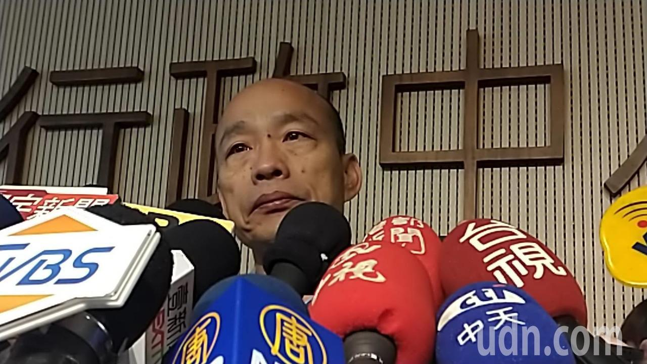 高市長韓國瑜上午受訪表示辦公室人員遭冒名,茲事體大。記者蔡孟妤/攝影
