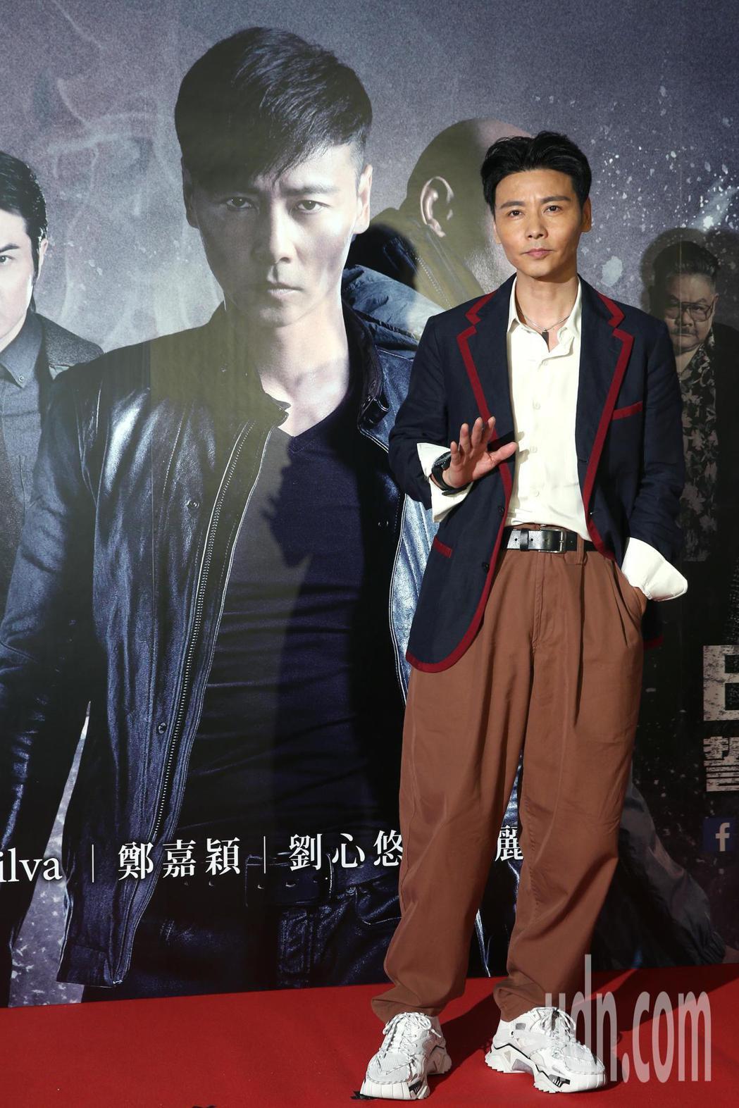 動作巨星張晉下午出席電影《九龍不敗》記者會,分享他的瘦身秘訣就是保持運動。記者蘇...