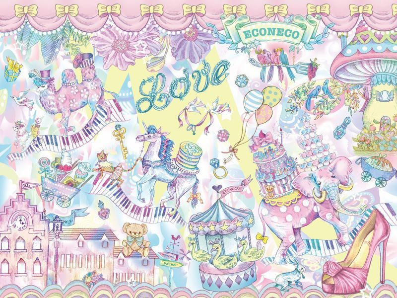 ECONECO南西誠品快閃店以插畫家繪子貓老師的代表作「Wonderland」系列為設計靈感。圖/日藥本舖提供