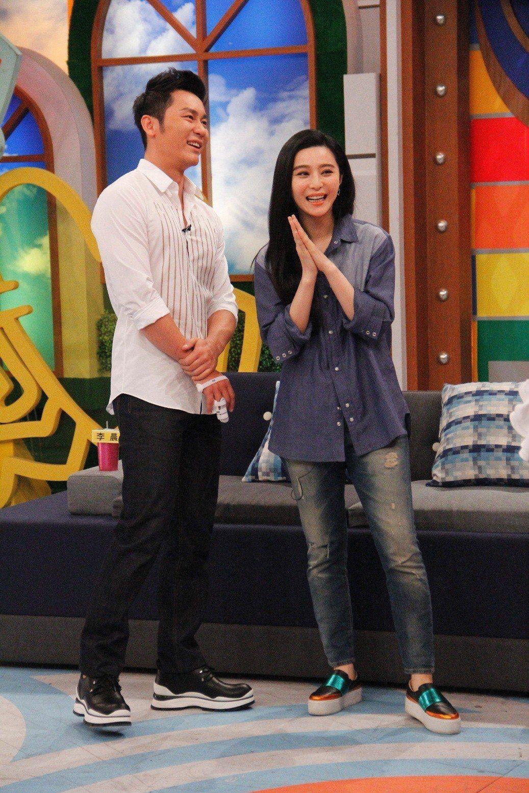 李晨(左)曾與范冰冰一起在「康熙來了」節目中放閃。圖/中天提供