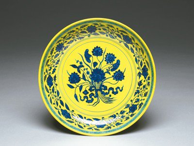 黃地青花一把蓮盤。 圖/故宮提供