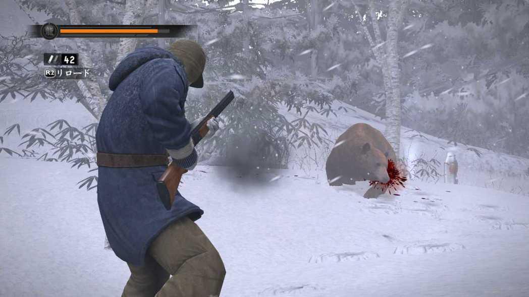冴島跑到了雪山當獵師,狩獵兔子、狐狸還有熊,你的最終目標是挑戰傳說「山神」大黑熊...