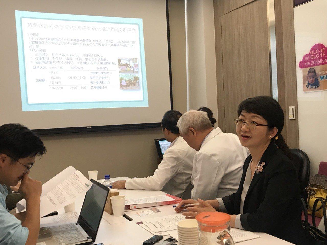 苗栗縣衛生局長張蕊仙(右)表示,苑裡鎮至少6個里C型肝炎陽性率超過20%,此次推...