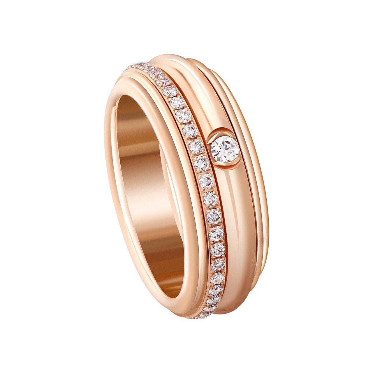 PIAGET Possession系列18K玫瑰金鋪鑲美鑽指環,19萬5,000...