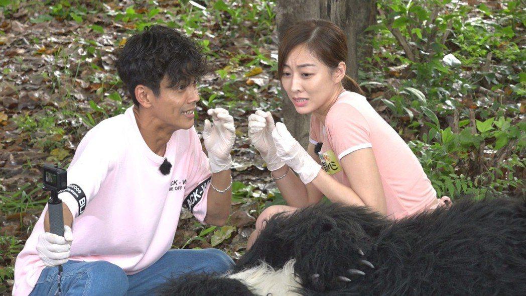阿翔(左)和夏語心近距離拍攝台灣黑熊,嚇得臉都歪了。圖/民視提供