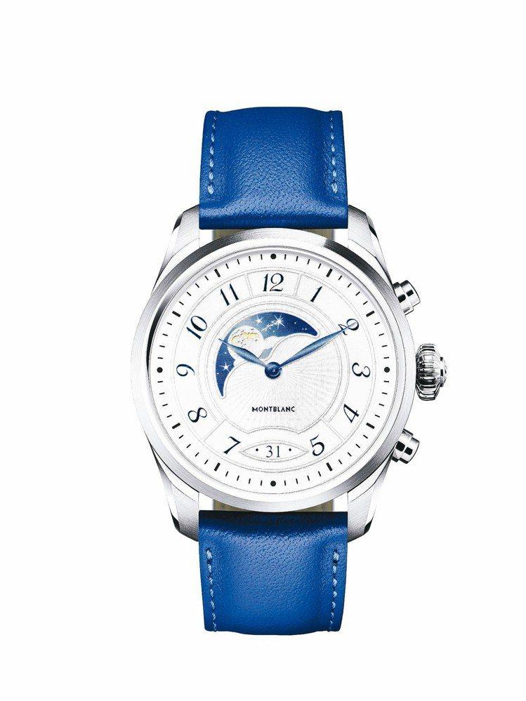 萬寶龍Summit 2智能腕表,不鏽鋼表殼搭配藍色小牛皮表帶,約33,000元。...