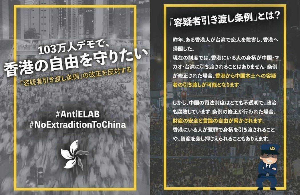 日本的反送中聲援者,自製的日文版《送中條例》圖解之一。 圖/元山仁士郎twitt...