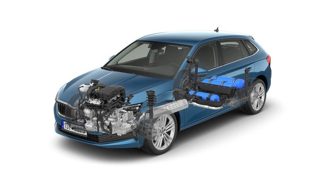 由於CNG天然氣儲存罐置放在車身底部,讓ŠKODA Scala CNG車型的行李...