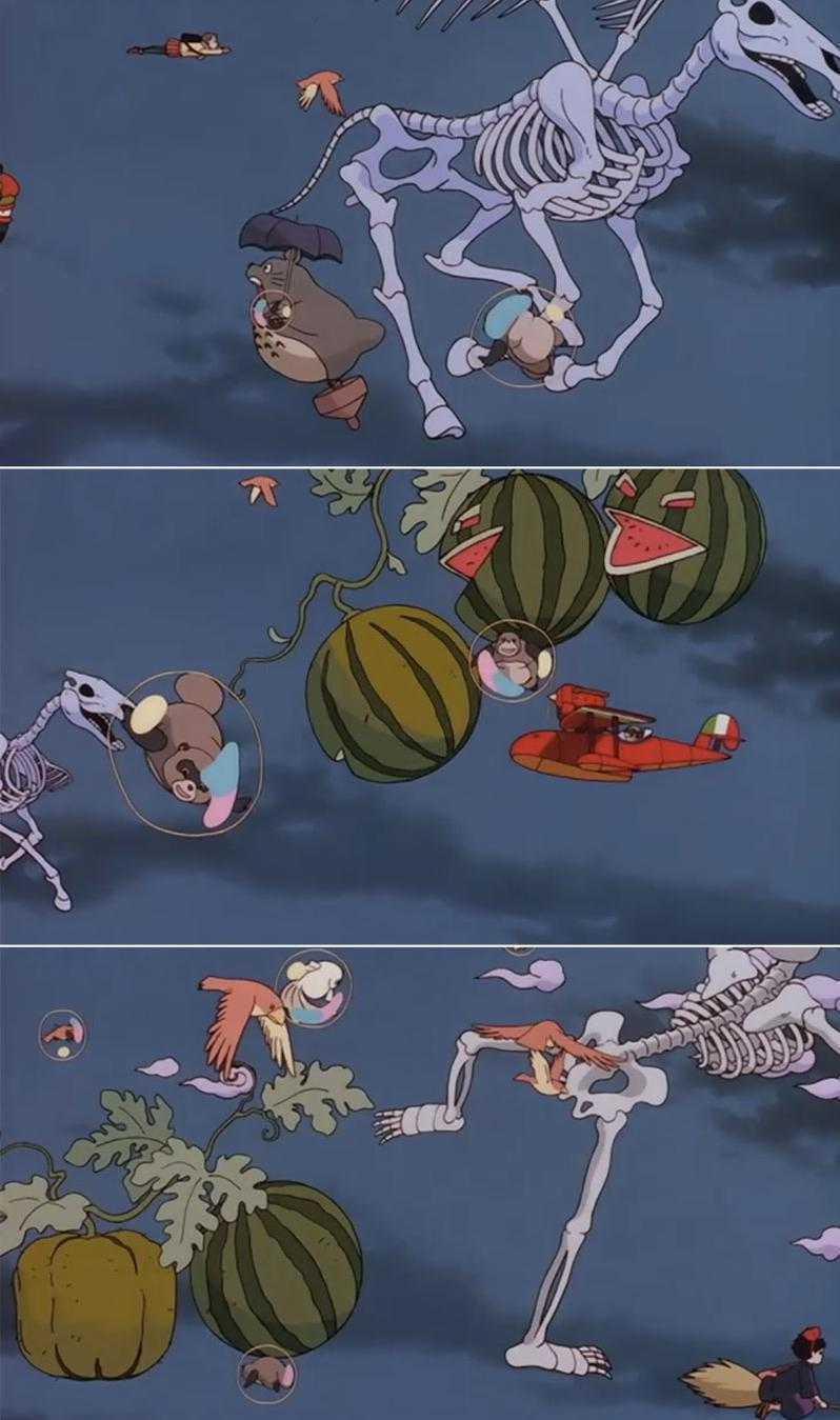 有趣的是,平成貍也是所有吉卜力電影裡面有最多彩蛋的一部,我們可以看到琪琪、紅豬、...