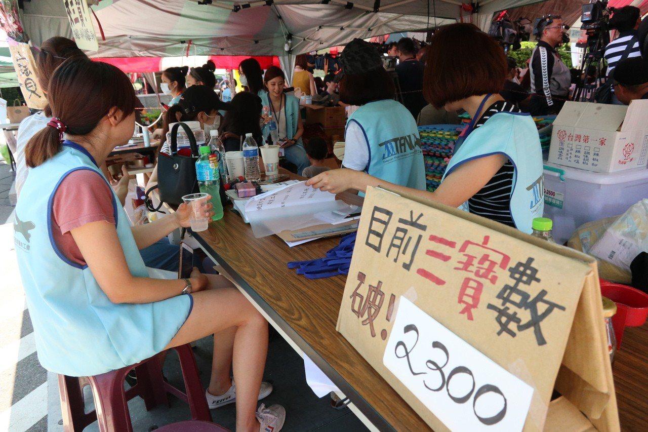 長榮罷工第九天,工會宣布繳交三寶人數突破2300人。記者許政榆/攝影