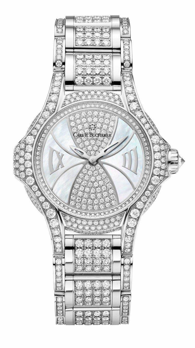 寶齊萊白蒂詩蒂莎限量珠寶腕表,34毫米18K白金鑲鑽表殼搭配珍珠母貝表盤,740...