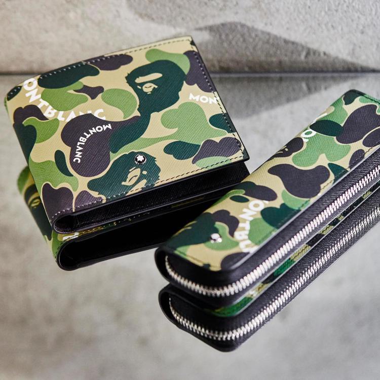 MONTBLANC x BAPE®聯名系列皮夾與筆袋,價格未定。圖/萬寶龍提供