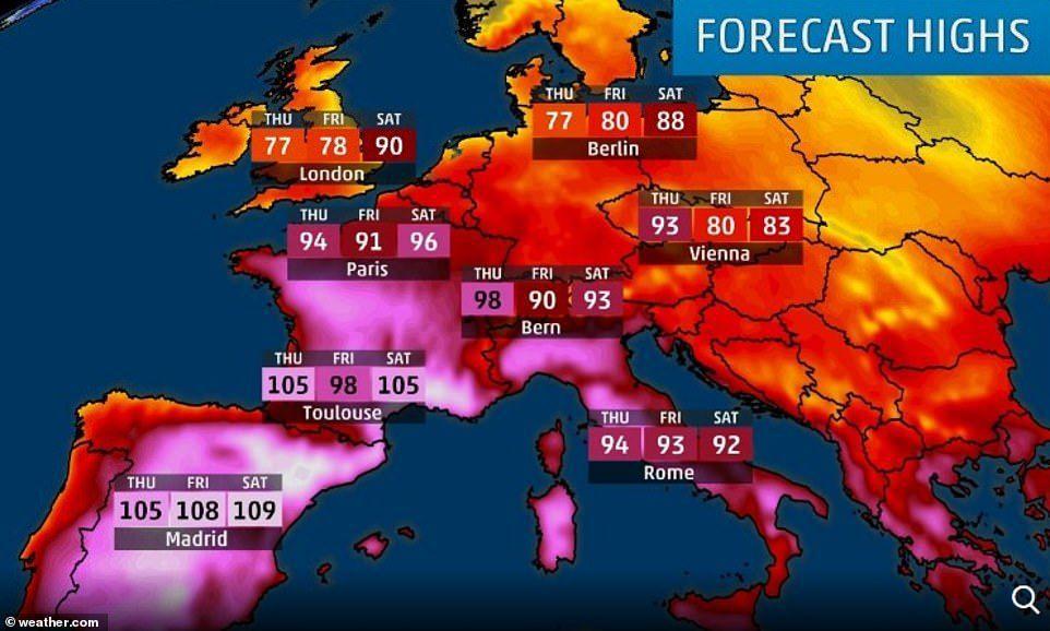 受到北非撒哈拉沙漠熱空氣侵襲,歐洲近日頻飆攝氏40度以上的高溫,多國紛紛破6月最...