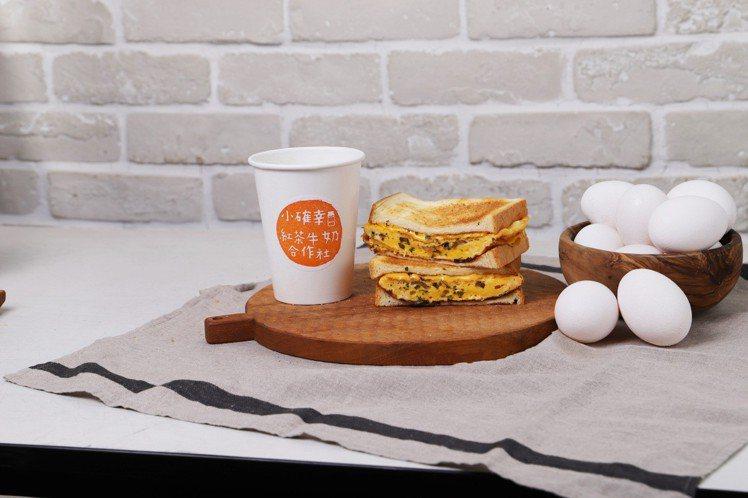 「小確幸紅茶牛奶合作社」奶油厚燒蛋三明治+正濃紅茶牛奶。圖/京站提供