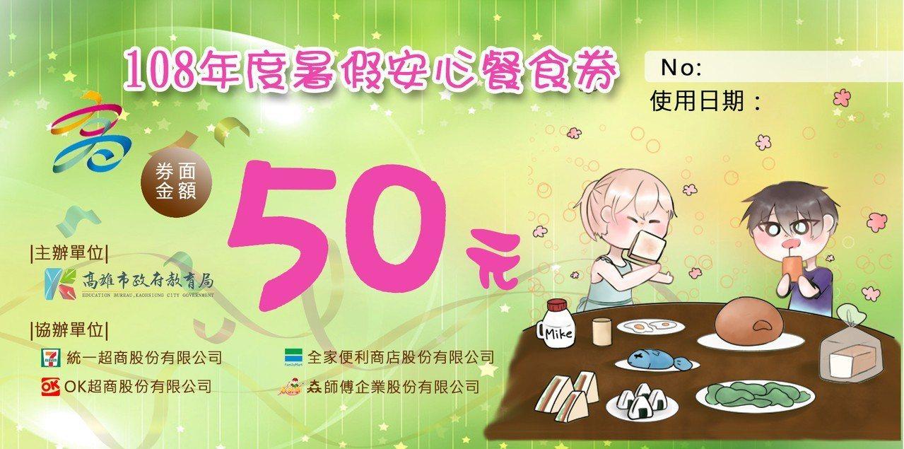 安心餐食券1冊62張,每張面額50元,使用期限為暑假期間108年6月29日至8月...