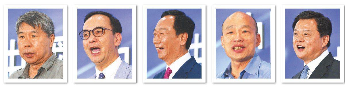 國民黨今天在台中舉辦總統初選第二場「國政願景電視發表會」,第一階段申論順序由左...