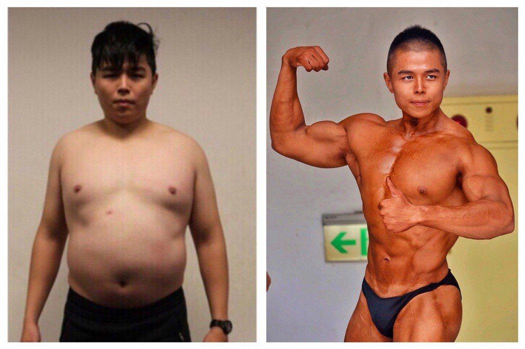 台中市警員陳威政從警後因作息不正常,曾胖到110公斤,靠著健身減重,今年參加廣亞...