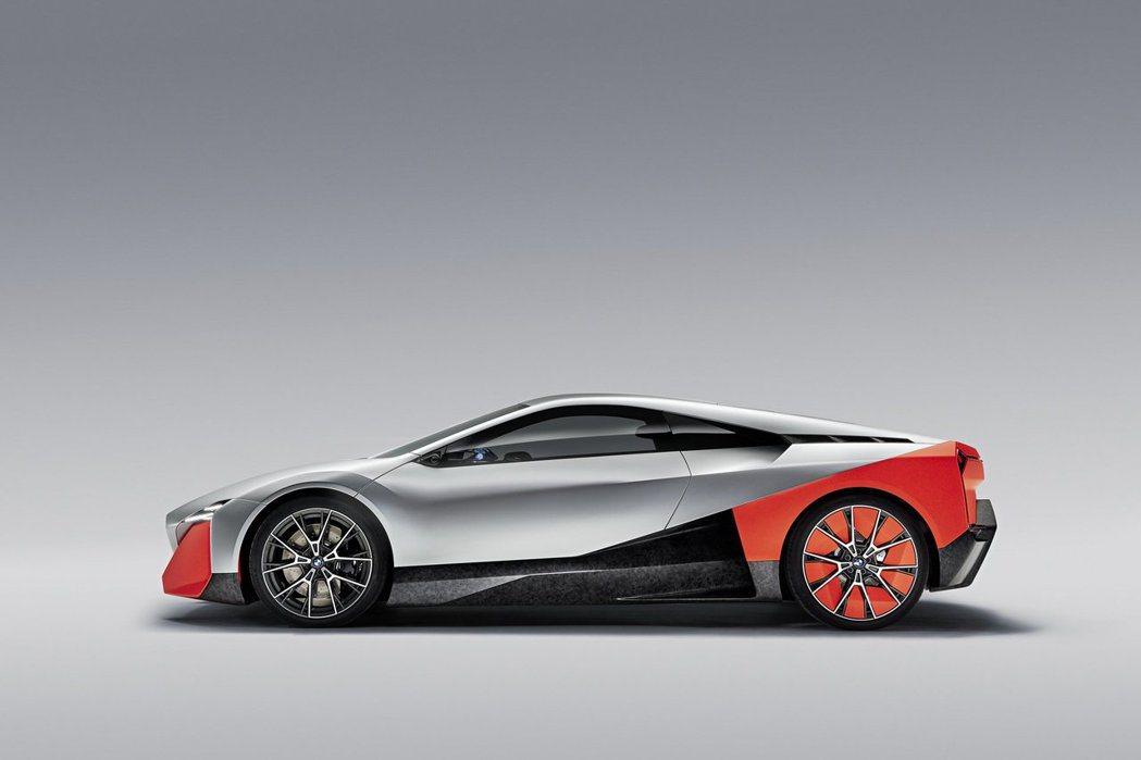 BMW Vision M Next前、後鋁圈尺寸不同,前鋁圈圍21吋,後鋁圈則是...