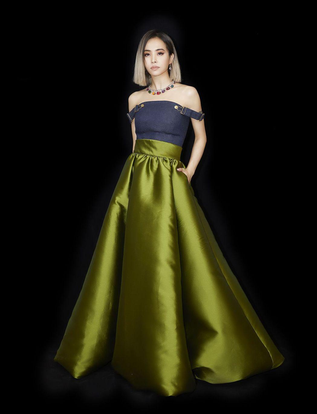 蔡依林穿Brandon Maxwell禮服,搭配1,600萬寶格麗珠寶。圖/索尼...
