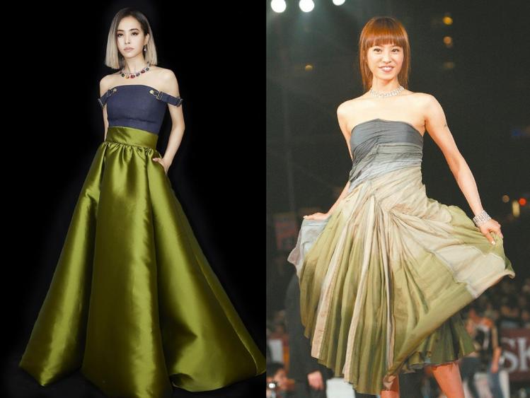 右為蔡依林2019金曲的首套戰袍、右為2004年蔡依林登金曲的紅毯禮服。圖/索尼...