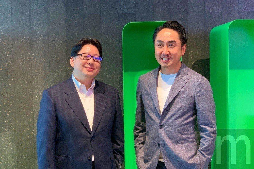 右為LINE執行長出澤剛,左為行銷長舛田淳