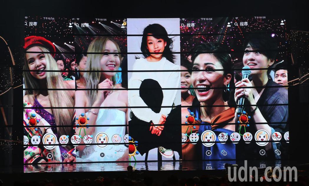 金曲獎入圍最佳國語女歌手,在典禮中藉由軟體重返童顏。記者林伯東/攝影