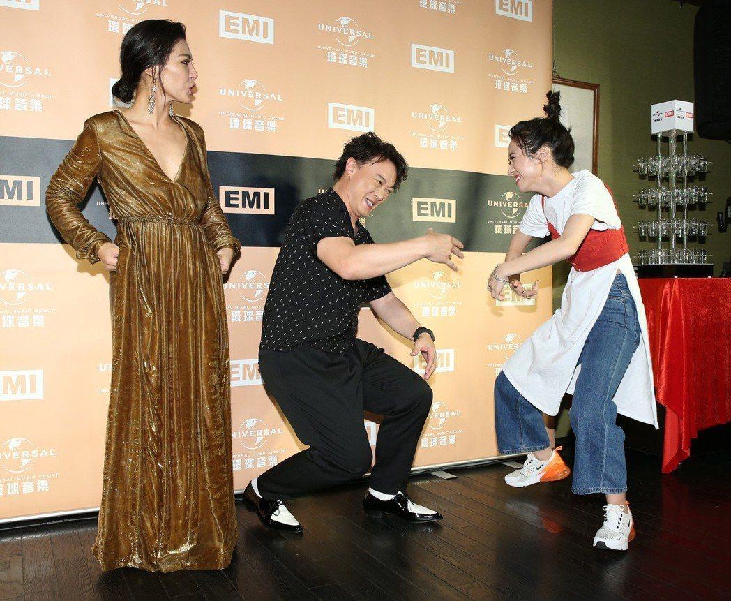 陳奕迅(中)、Lulu(右)與艾怡良出席慶功。記者林澔一/攝影