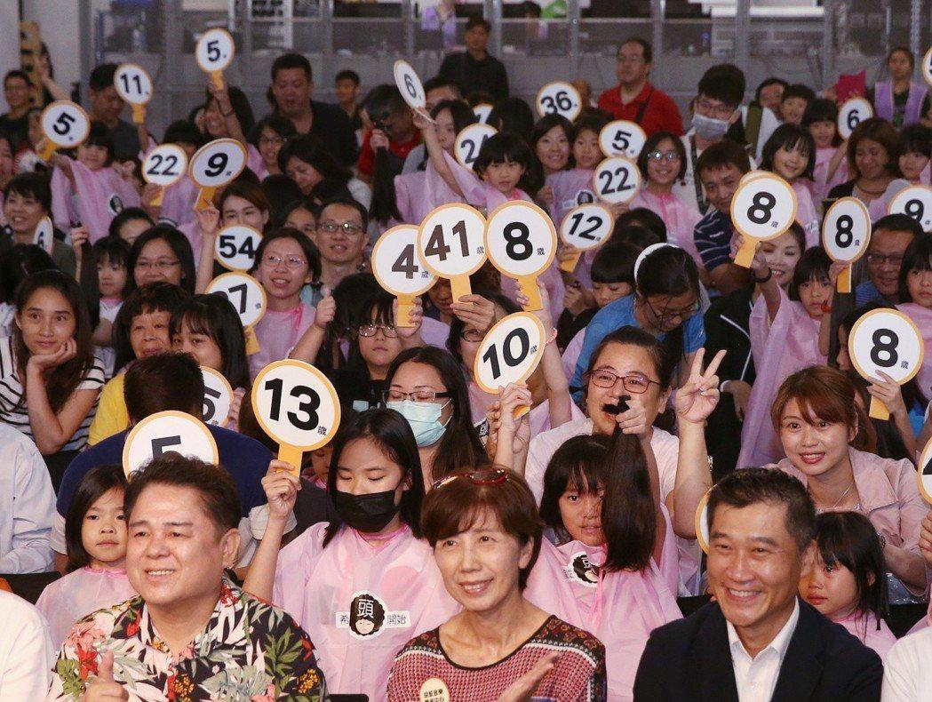 由癌症希望基金會舉辦的第五屆百人捐髮活動,共有124名捐髮者,百人捐髮活動中各年...