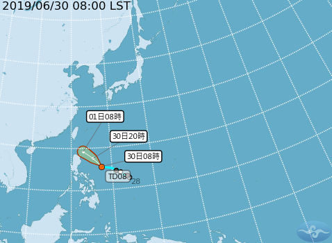 在菲律賓東方有一個熱帶性低氣壓正在發展。圖/取自氣象局網站