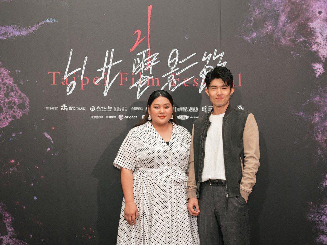 女主角蔡嘉茵(左)在片中對張耀仁(右)飾演的陽光快遞員有好感。圖/台北電影節提供