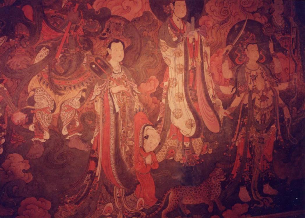 北京法海寺壁畫「帝釋梵天圖」,自左而右為散脂大將、鬼子母神、月宮天子、大辯才天王...